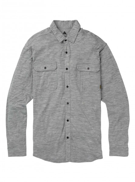 Burton Midweight Merino Button Up monument heather