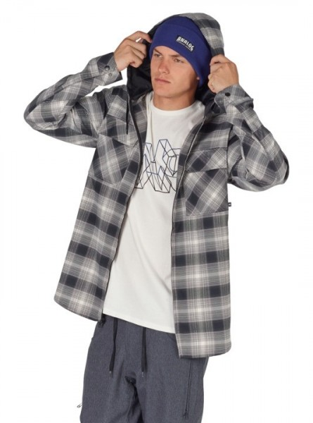 Analog Kaiden ATF hooded flannel true black pacific plaid